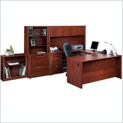 BER6086063 - Bestar Embassy U-Shaped worksation and Accessories kit in Tuscany Brown