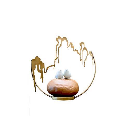 New Chinese Decoration Creative Home Living Room Entrance Study Ceramic Bird Hotel Personality Wine Cooler Crafts Desktop Sculpture Arrangement TV Cabinet Sample Bracket Display Stand ( Design : B ()