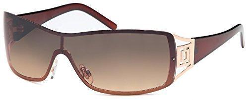 Sonnenbrille Monoscheiben Brille Damen Herren Sonnenbrillen Retro Aviator B552, Rahmenfarbe:Braun/Dunkel