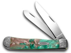 CASE XX Engraved Bolster Series Coral Sea Genuine Corelon Trapper Pocket Knives