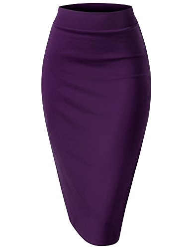 Regna X Woman thick band Formal Prettypurple 3x plus marternity Pencil Back Slit Midi Skirt Back Slit Stretch Skirt