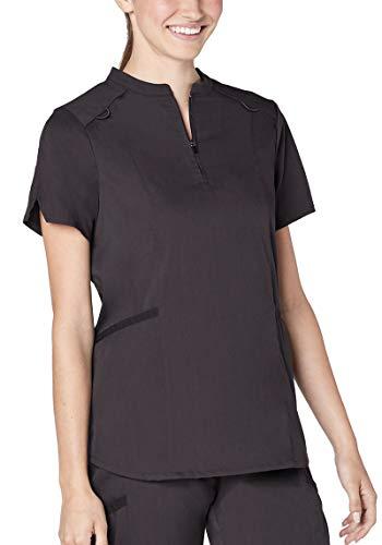 Adar Responsive Scrubs for Women - Active Stand Collar Scrub Top - R6002 - Pewter - L