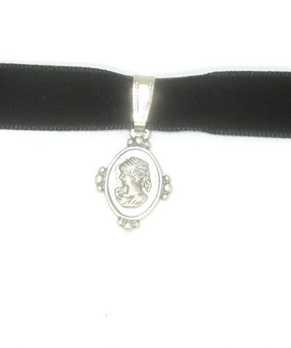 ras-de-cou en velours noir avec antiksilberfarbenen médaillon ras de la de Munich glitzerwelt