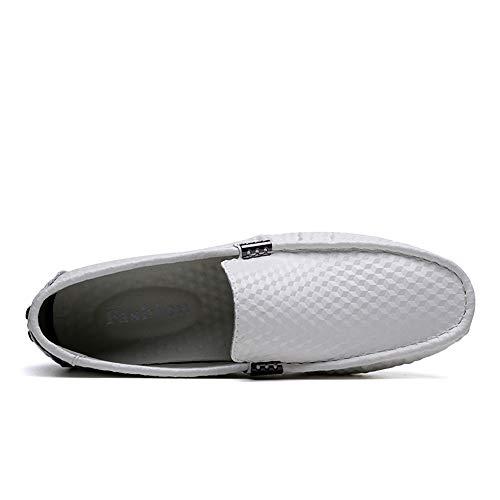 Otprdirect uomo Mocassino Bianca unita tinta slip gomma guida fashion piatte mocassini all'usura resistente mocassini in suola per suola scarpe da business scarpe rSFrp