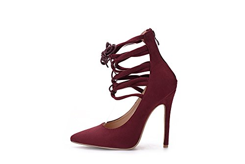 Mila Dame Ether21 Dorsay Strappy Ankelen Eleganse Plattform Dame Heeled Pumper Sko! Wine7