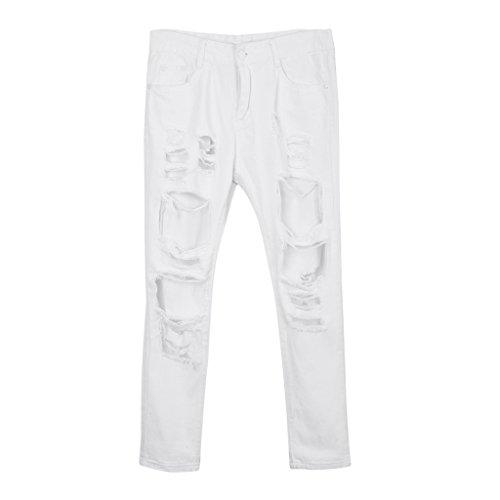 D DOLITY Jeans Dchir Skinny  Large Trou Pour Femme Jeans Stretch Dchir Denim S-XL 2 couleurs Blanc