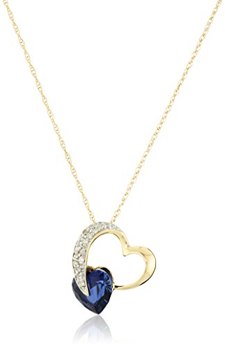10k Yellow Gold Created Blue Sapphire and Diamond Heart Pendant Necklace (1/10 cttw, I-J Color, I2-3 Clarity), (Blue Diamond Heart)
