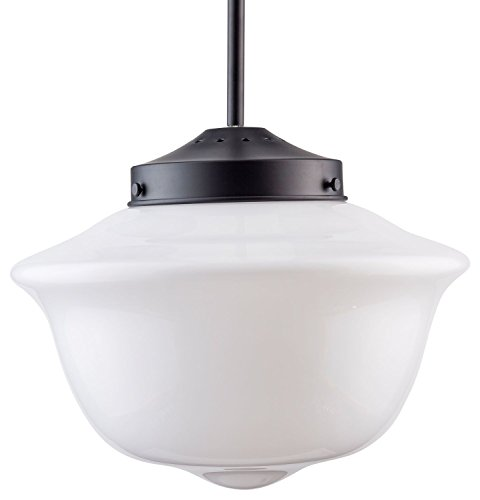 Lavagna Schoolhouse Pendant - Black w/Milk Glass Shade - Linea di Liara LL-P272-MILK-BLK (Milk Glass Black)