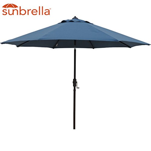 Bayside-21 Patio Umbrella Outdoor Aluminum Table Umbrella of 9-Feet with 8 Ribs Auto Tilt and Crank Sunbrella Fabric Umbrella Canopy (Sunbrella, Blue) For Sale