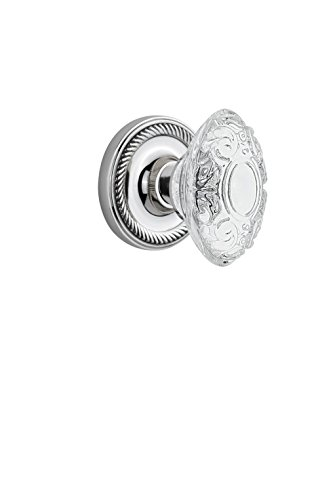 Nostalgic Warehouse 754334 Rope Rosette with Crystal Victorian Knob Double Dummy, Surface Mounted, Bright Chrome