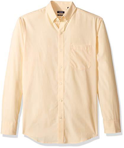 IZOD Men's Button Down Long Sleeve Stretch Performance Solid Shirt, Golden Cream, X-Large Cream Button Down Shirt