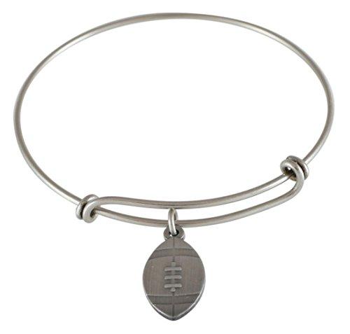 Emoji Single Charm Bracelet (Football - Antique Silver)