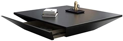 Amazon Com Homary Modern Living Room Wood Square Low Coffee Table Coffee Table With Drawer Storage Drum Black Kitchen Dining