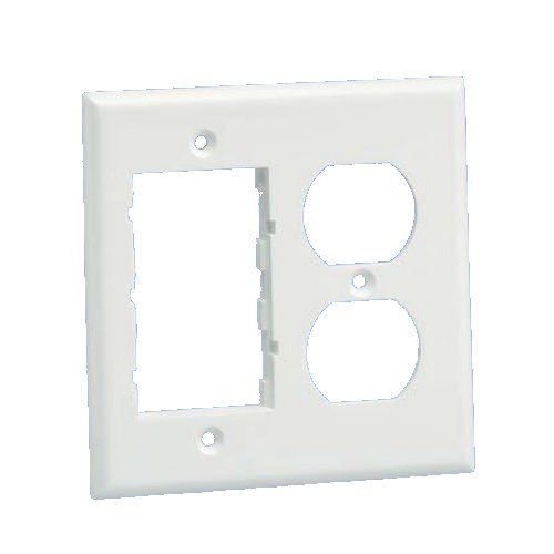 Panduit FP2DCIW Double Gang 106 Duplex Electrical and Two Communication Insert Faceplate, Plastic ()