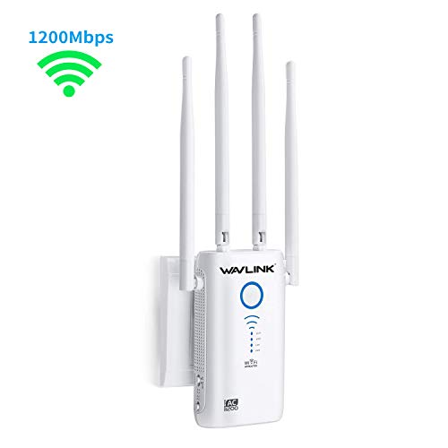 WiFi Range Extender, WAVLINK 1200Mbps Dual Band Mini Wireless Repeater/ 2.4GHz + 5GHz Internet Signal Booster/Repeater/Access Point/Router with 2 Gigabit ethernet Ports and 4 External Antennas