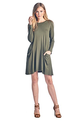 ReneeC. Women's Extra Soft Natural Bamboo Long Sleeve Mini Dress - Made in USA (Large, Olive) ()