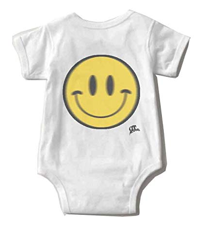 (GT Artland Airbrushed Cute Smiley Face on Baby Short Sleeve Bodysuit)
