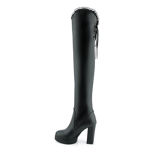 Toe Knee Rongzhi Dress Thick Boots Platform Round The Over Black High Block Womens Thigh Up Boots Heel Lace qSrtwSO