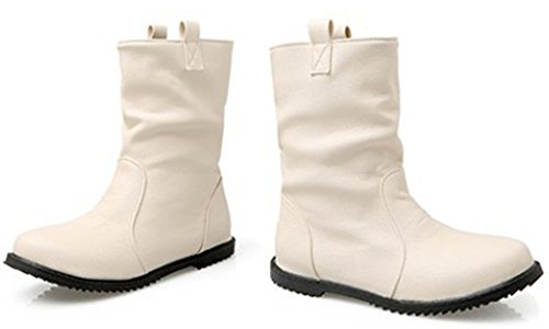 Easemax Women's Casual Round Toe Pull On Low Chunky Heeled Ankle High Booties Beige v7xSSarFmm