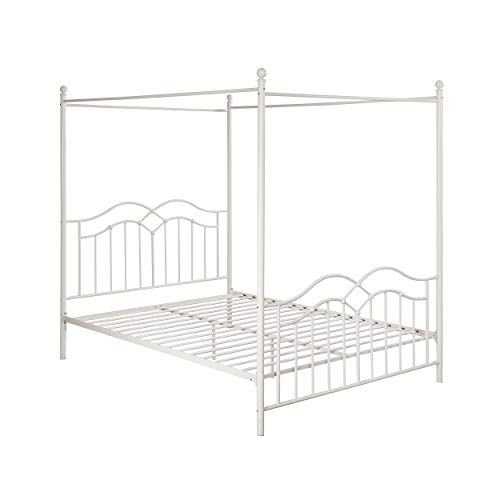 Christopher Knight Home 308302 Simona Traditional Iron Canopy Queen Bed Frame, White,