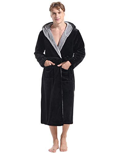 Hawiton Unisex Hooded Robes Plush Shawl Bathrobe Nightgown Spa Robe for Winter -
