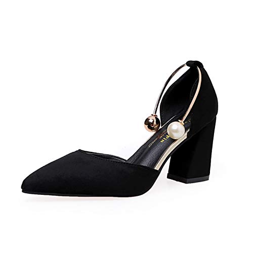 Yukun zapatos de tacón alto Tacones Altos De Moda Otoño Moda Mujer Señaló Perla Metal Pie Anillo Zapatos De Tacón Grueso Salvaje Black
