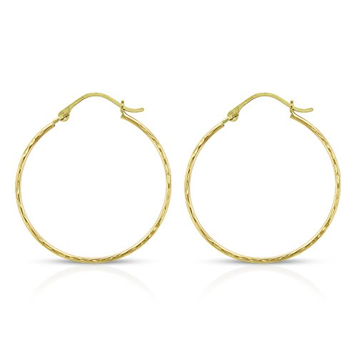 14k Yellow Gold Womens Thin Diamond Cut Fancy Tube Hoop Earrings Light Weight 1