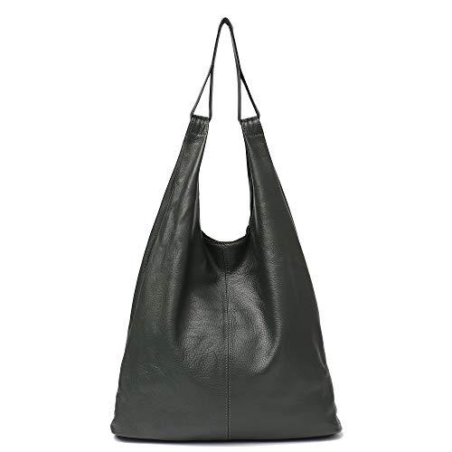 - Women's Hobo Handbag STEPHIECATH Luxury Italian Genuine Leather Slouchy Shoulder Bag Large Casual Handmade Tote Vintage Style Bags(GREEN)