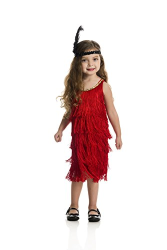 Charades Fashion Flapper Girl's Costume Dress, Red, X-Small