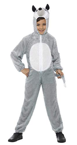 Smiffys Children's Unisex All In One Wolf Costume, Jumpsuit with Tail and Hood, Party Animals, Ages 7-9, Color: Grey, 30788 -