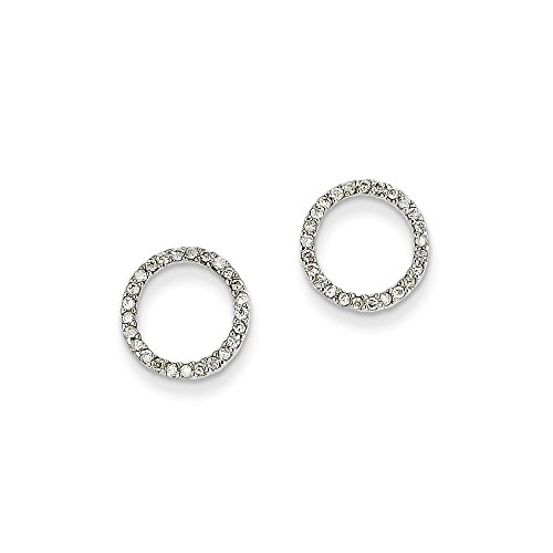 14K White Gold Diamond Circle Stud Earrings (0.25 CTTW, I-J Color, I2-I3 Clarity) (Gold Earrings Diamond Circle White)