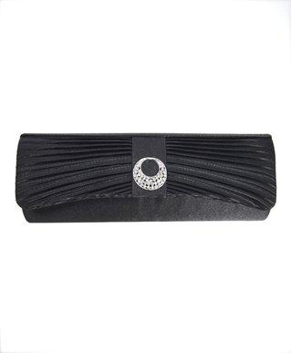 Long Shinny Satin Sparkle Accent Flip Clutch, Black, Bags Central