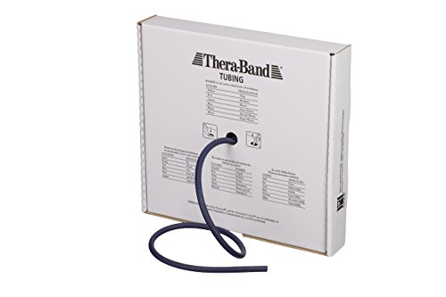 (TheraBand Professional Latex Resistance Tubing for Upper Body and Lower Body Exercise, Physical Therapy, Lower Pilates, at-Home Workouts, and Rehab, 25 Foot, Blue, Extra Heavy, Intermediate Level 2)