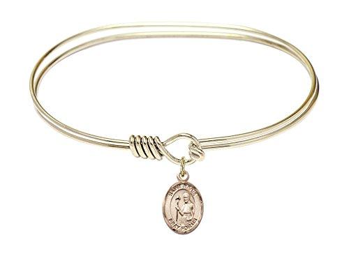 St. Regis-7 inch Oval Eye Hook Bangle Bracelet with a St. Regis charm.-Saint Regis is the patron saint of Social Worker/Lacemaker. Memorial Day June 16th.-Social Worker/Lacemaker (Vase Regis)