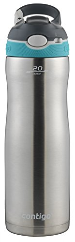 Contigo Stainless Steel Water Bottle | Vacuum-Insulated Water Bottle | AUTOSPOUT Ashland Chill Water Bottle, 20oz, Stainless/Scuba