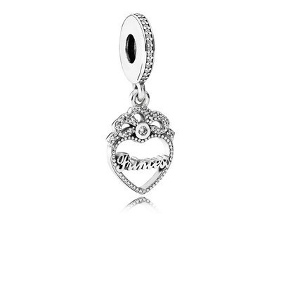 PANDORA 791962CZ Princess Crown Heart Charm