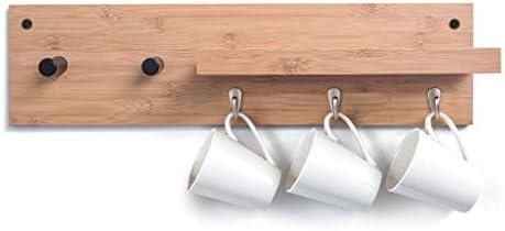 陳列棚は フローティング壁棚木製の壁の装飾収納ラック多機能単層壁掛けコートフックハンガーバッフルデザイン AFQHJ (Color : Wood color, Size : 5 hooks)