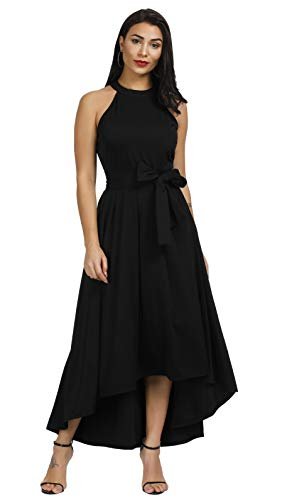 Annystore Women Sleeveless Solid Color Formal Belted Asymmetrical Maxi Dress Black ()