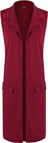 WearAll - Femmes Sans Manches Faux Poche Veste Haut Cardigan Waistcoat - Hauts - Femmes - Tailles 42-56 Vin