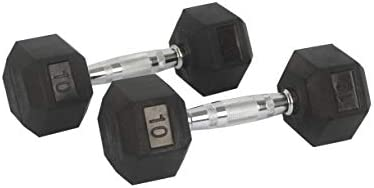 FixtureDisplays Rubber Dumbbell in Pair - with Metal Handles Pair of Two 10 lbs Dumbbells 15188-NF No