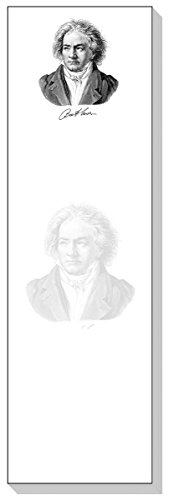 Ars Antigua Slim Writing Blocs (Notepads) • Beethoven • Portrait 1818 • Two Blocs of 50 Sheets Each - Total of 100 Printed Sheets