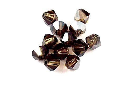 (50 pcs 4mm Swarovski Crystal bicone 5301 Smoky Quartz Satin Beads)