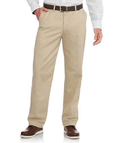 George Men's Flat-Front Wrinkle-Resistant Dress Pants (42 x 30, Barley)