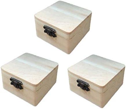 SUPVOX - Caja de madera sin terminar, con tapa abatible y cierre frontal, 3 unidades, para manualidades, manualidades, manualidades y pintura de regalo: Amazon.es: Hogar
