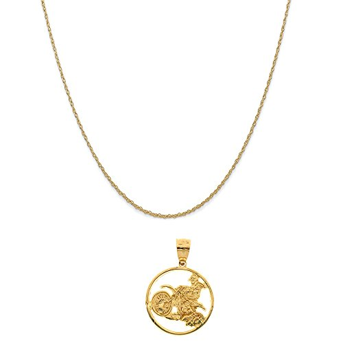 14k Motorcycle Gold (14k Yellow Gold Dirt Bike Pendant on a 14K Yellow Gold Rope Chain Necklace, 18