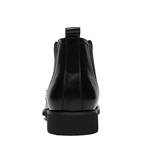 Zapatos Clásicos de Piel para Hombre Zapatos de cuero para hombres Zapatos de tacón alto Botas Martin puntiagudas Botas cortas Estilo británico ( Color : Marrón , Tamaño : EU42/UK7.5 ) Negro