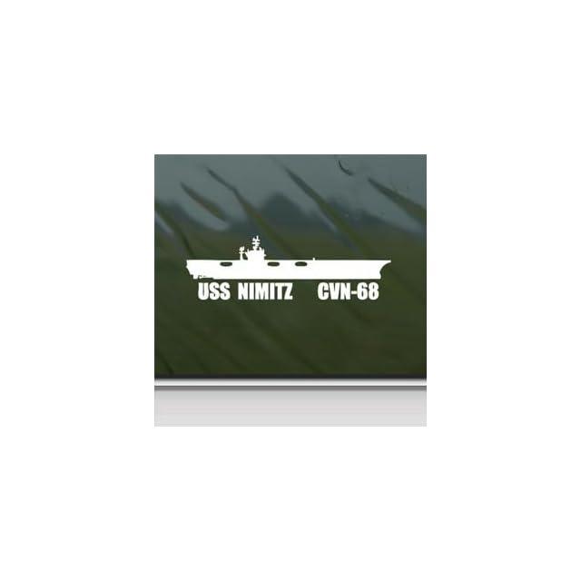 Uss Nimitz Cvn 68 Us Navy Carrier White Sticker Decal Car Window Wall Macbook Notebook Laptop Sticker Decal   Decorative Wall Appliques