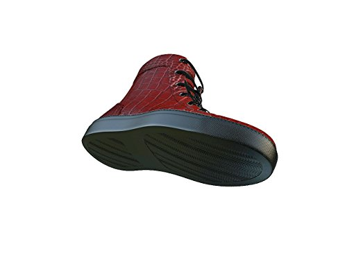 DIS Gianmarco - Sneakers Alta Pelle Stampa Cocco Rossa La tua sneakers alta in pelle stampa cocco rossa, 100% made in Italy e personalizzabile