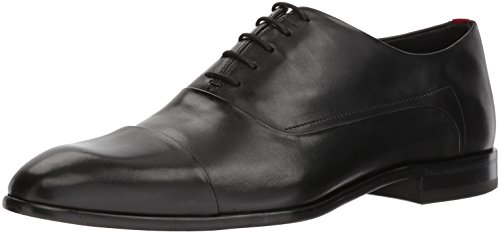 HUGO by Hugo Boss Men's Dress Appeal Leather Lace Up Oxford Uniform Shoe, Black, 11 M US