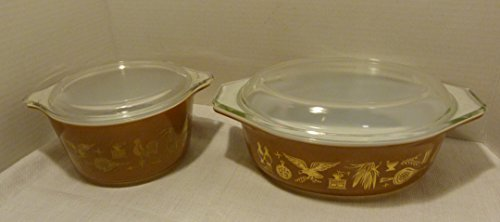 4 Piece Set - Vintage Pyrex Early American Brown & Gold 1 QT (#473) & Oval 1 1/2 QT (#043) Casseroles / Baking Dishes with Glass Lids
